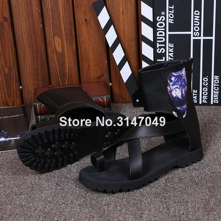 Hommes gladiateur été haut-haut sandale bottes noir Rome sangle chaussures décontractées OKHOTCN Cool plage glisser chaussures grande taille tongs - 4