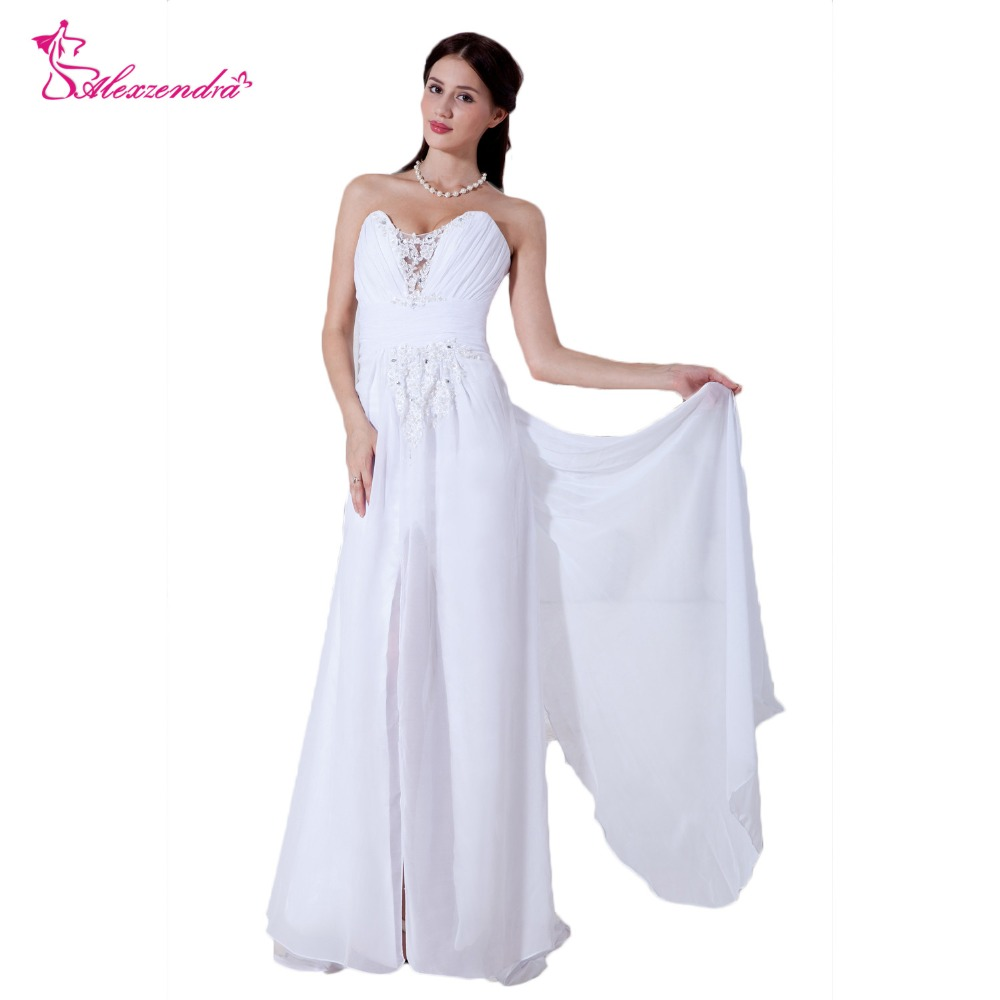Alexzendra White Beach Chiffon A Line Wedding Dresses with Side Slit Beaded Long Bride Dress vestido de noiva de renda