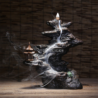 Lofty Mountains And Flow water Smoke Backflow Incense Burner Aromatherapy Creative Home Office Ornaments + 30pcs Incense