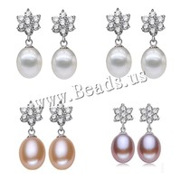 2015 Hot Fashion Natural Freshwater Pearl Earrings White Pink Purple 925 Sterling Silver Jewelry For Women