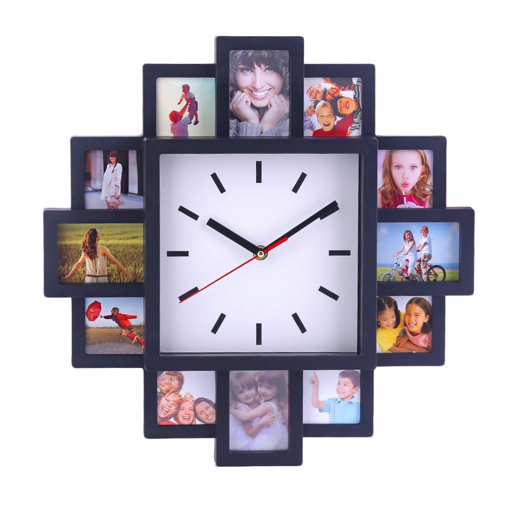 DIY 12 Photo Frame design Wall Clock Pretty Home Shop Decorative ...