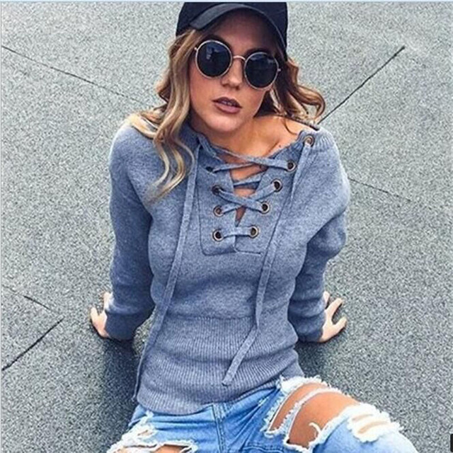 Autumn and Winter Explosion Models 2016 Women Full Sleeve Solid Fashion Women V Neck  Slim Knit tops Sexy Bandage T-shirt