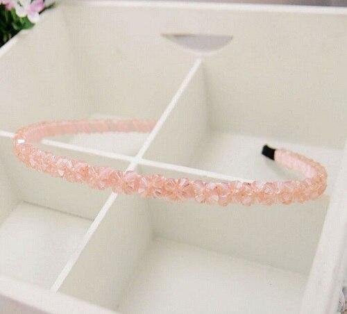 AWAYTR ободок для волос, украшенный кристаллами,, модный головной убор для девушек и женщин, аксессуары для волос ручной работы, головной убор, повязка на голову с жемчужным цветком - Цвет: Розовый