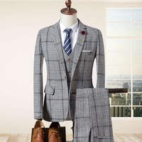 new spring and summer 2019 men's suits the bridegroom three piece suit men of England grid cultivate one's morality