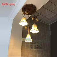Regron Европа Стиль потолочные светильники Ретро светодиодный потолочный светильник Природный страна лестницы лампы для виллы Ресторан отел