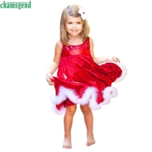 Christmas new Kids Girls dress dropship Fashion Baby Girls Kids Christmas Party Red Paillette Tutu Dresses Xmas Gift Q30 SEP13