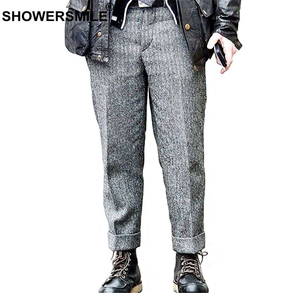 SHOWERSMILE Herringbone Tweed Suit Pants Men Autumn Winter Vintage Mens Wool Trousers Grey Woolen Mens Dress Pants British Style