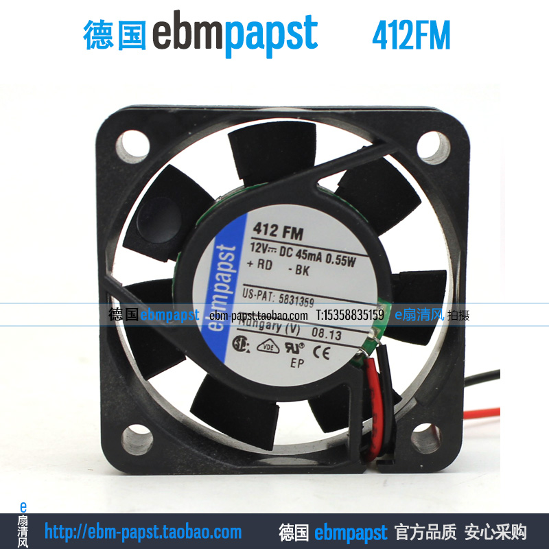 Original new ebm papst 412FM 412 FM DC 12V 0.045A 0.55W 2-wire 40x40x10mm Server Square fan new original ebm papst iq3608 01040a02 iq3608 01040 a02 ac 220v 240v 0 07a 7w 4w 172x172mm motor fan
