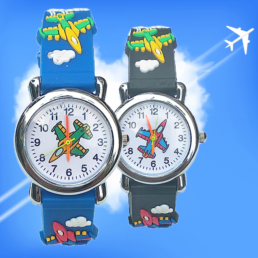 New Aircraft Cartoon Baby Watch Fashion Children Dress Analog Quartz Kids Digital Watch Boys Girls Unisex Watches Students Clock
