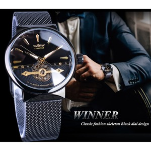 Image 3 - Winner 2019 Fashion Black Golden Mesh Belt Waterproof Luminous Hands Mechanical Wrist Watches Top Brand Luxury Business Clock