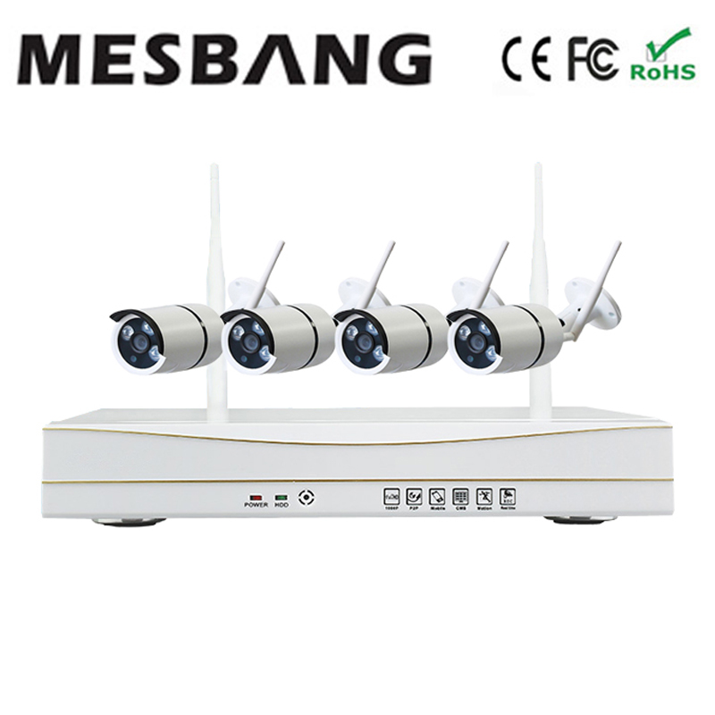 hot Mesbang  outdoor security camera system kits waterproof 720P 4ch cctv IP Camera kit Wireless free shipping by DHL mesbang 720p 4ch wireless ip camera nvr kit one key to set up easy installation free shipping fast