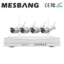 hot Mesbang outdoor security camera system kits waterproof 720P 4ch cctv IP Camera kit Wireless free