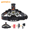 High Power LED Headlamp 8000Lumen CREE XML T6++2XPE + UV Red Laster LED Rechargeable Headlight Head Torch For Hunting