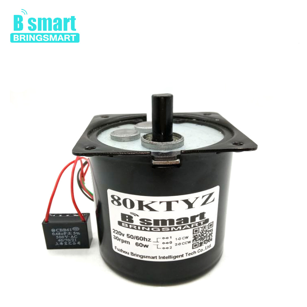 Bringsmart 60W Permanent Magnet Synchronous Motor 220V AC Motor 60kg.cm High Torque Mini Low Speed 8~30rpm CW CCW Gear Reducer