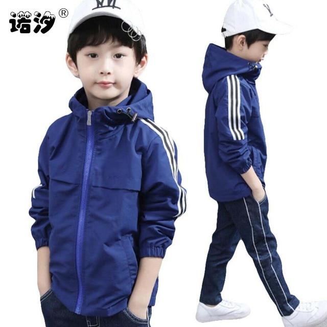 Весенняя куртка для мальчиков От 3 до 13 лет Детские Длинные рукава с капюшоном для активного отдыха ветровка одежда для подростков Большие Мальчики Прохладный Спорт Пальто Верхняя одежда для мальчиков