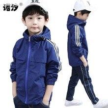 Boys spring jacket 2-15T children long sleeve hooded active windbreake
