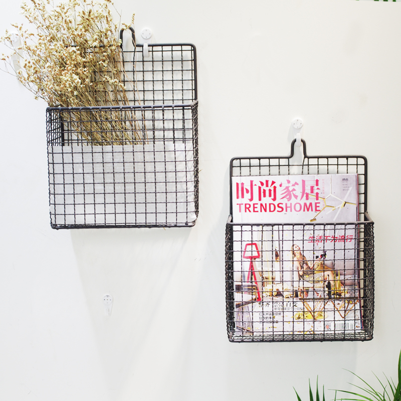 Country Rustic Metal Wire Wall Mounted Magazine File Mail Holder Basket Storage Holders Racks Aliexpress