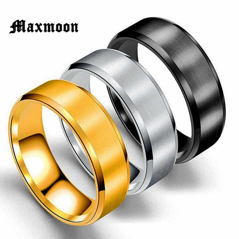 Maxmoon Metal Stainless Steel Wide Rings Sports Male Simple Men silver Jewelry Ring glod Summer Wholesale Business Boy Gift