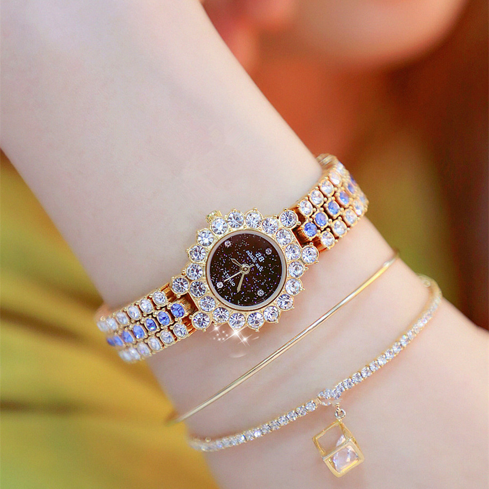 Women Crystal Watches BS Bee Sister Lady's Rhinestone Watch Female Steel Small Dial Quartz Wristwatch Clocks Hot S
