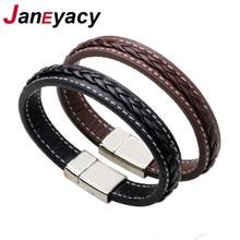 Популярный высококачественный мужской браслет из натуральной кожи, браслет из нержавеющей стали с кожаной оплеткой и магнитной застежкой, мужской браслет с браслетом