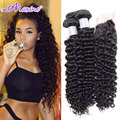 Raw Indian Curly Virgin Hair With Closure Ms Here Indian Deep Wave 3 Bundles With Closure Kinky Curly Virgin Hair With Closure