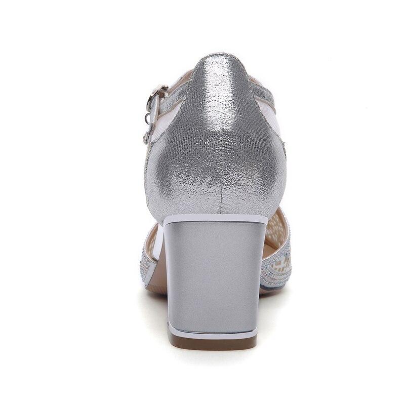 Crystal Rosado Tacones Plata Laikajindun Lujo 7 Sexy Bombas Punta Cm Zapatos Más Rosa Glitter Grueso Womens De Estrecha Caliente plata 5qp4U