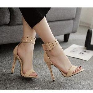 Image 2 - Женские сандалии 2019, летняя модная повседневная женская обувь, очень высокие сексуальные туфли Heeel OL