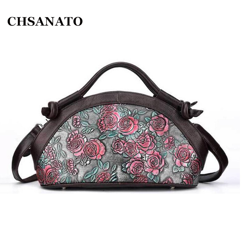 CHSANATO European and American Retro Trendy Floral Handbags Rose Flower Tote Genuine Leather Bags For Women retro style strapless rose and figure print corset for women