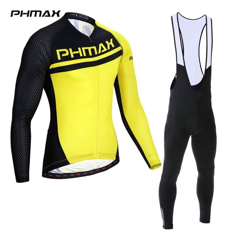 PHMAX Cycling Jersey Set Spring Long Sleeve MTB Bike Clothing Ropa Maillot Ciclismo Racing Bicycle Clothes Cycling Set For Mans