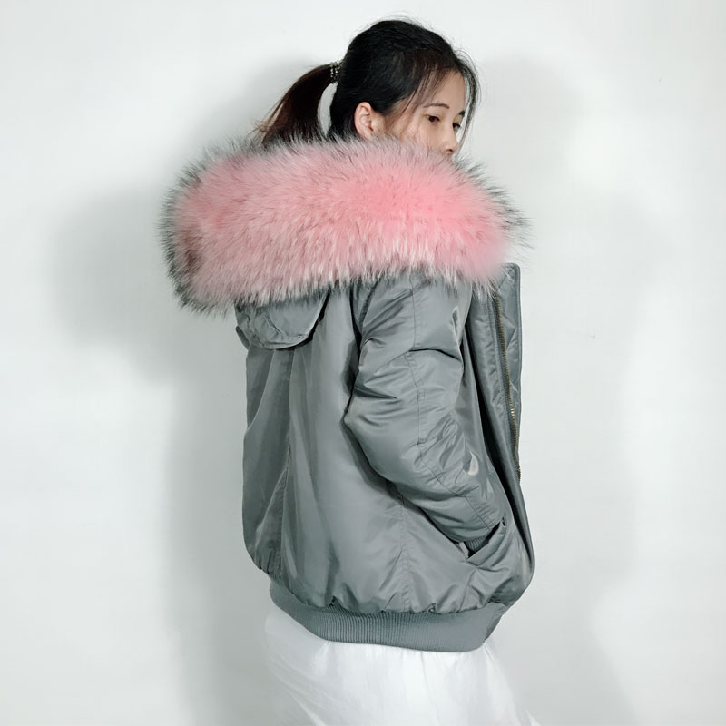 Inverno Nova Moda cor Cinza Mulheres Jaqueta Bomber Luz Rosa Hoodies Casaco de pele do falso forro de pele de Guaxinim Grande
