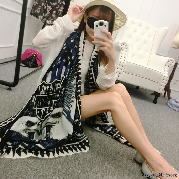 Cool Eagle Commando twill cotton scarf long section of sunscreen scarf dual beach towel shawl