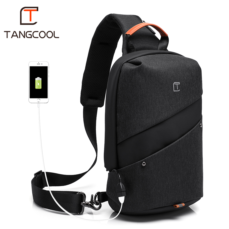 2019 New Tangcool Brand Men Fashion Messenger Bags Waterproof Oxford Women Chest Cross Body Bags Leisure Packs USB Charging Port