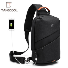 2019 New Tangcool Brand Men Fashion Messenger bags waterproof Oxford Women Chest Cross Body Bags Leisure Packs USB Charging port(China)