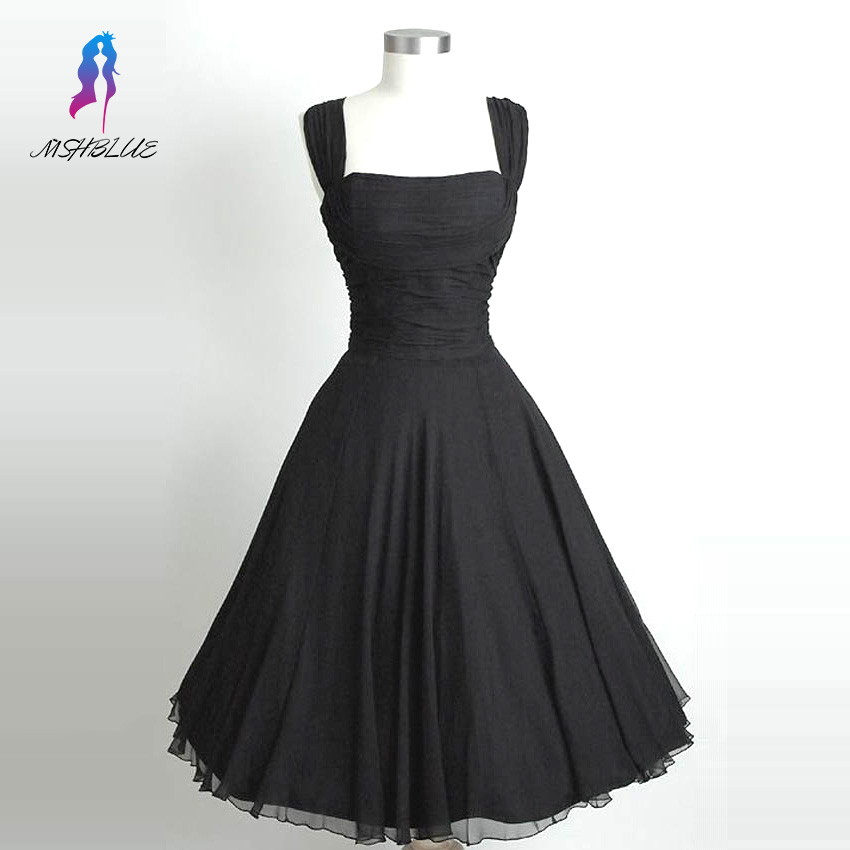 Simple Little Black Chiffon   Cocktail     Dresses   Sleeveless Tea Length Formal   Dress   Party Evening Gown