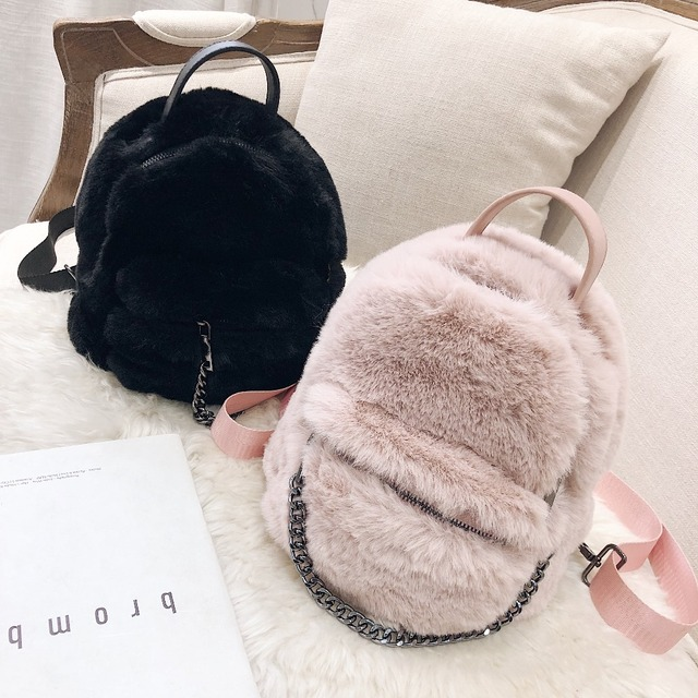 1c6f5ad220a Faux Fur Backpacks For Women 2018 Warm Small Backpack Ladies Chain Back  Pack Girls Winter Mini Bags Travel Bag Drop Shipping