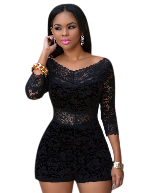 Plus Size Sexy Black Lace Off the Shoulder Playsuit Romper Women Bodycon Slim Casual Jumpsuit Shorts Party Clubwear H00568