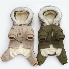 Pet köpek giysileri kış sıcak köpek yeşil ceket tulum kalınlaşmak Pet giyim Yorkshire oyuncak köpekler kostüm köpek giysileri ceketler