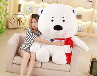 huge new plush white bear toy big scarf bear doll gift about 120cm 2695