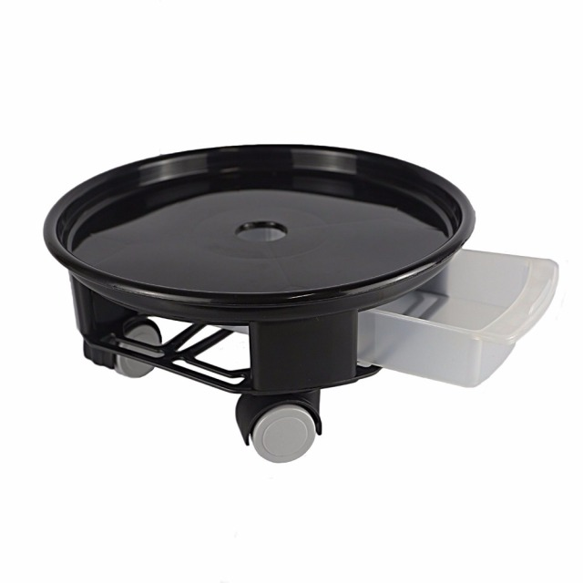 Heavy Duty Round Plant Caddy With Wheels And Water Container Black 9 5inch 12inch 14inch