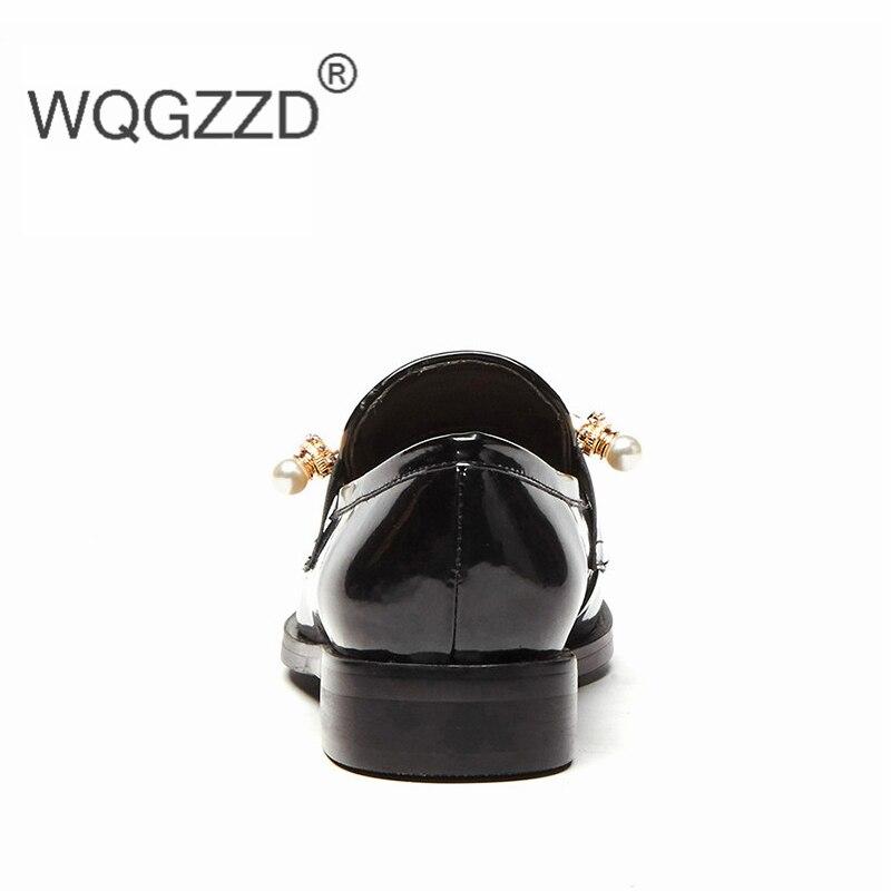 Plates Mocassins En Black Chaussures Véritable Britannique De Pour Perle 2019 Oxford Femme Cuir Sangle Style Femmes cWnz0BWZx