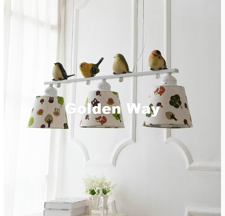 Free Shipping 3L LED L80cm Modern Nordic Style Creative Brief Restaurant Lights Bird Personalized Rustic Fabaric Pendant Lamp free shipping 251modern brief nordic european style new product resin cement pendant lamp
