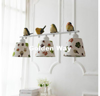 Free Shipping 3L LED L80cm Modern Nordic Style Creative Brief Restaurant Lights Bird Personalized Rustic Fabaric Pendant Lamp