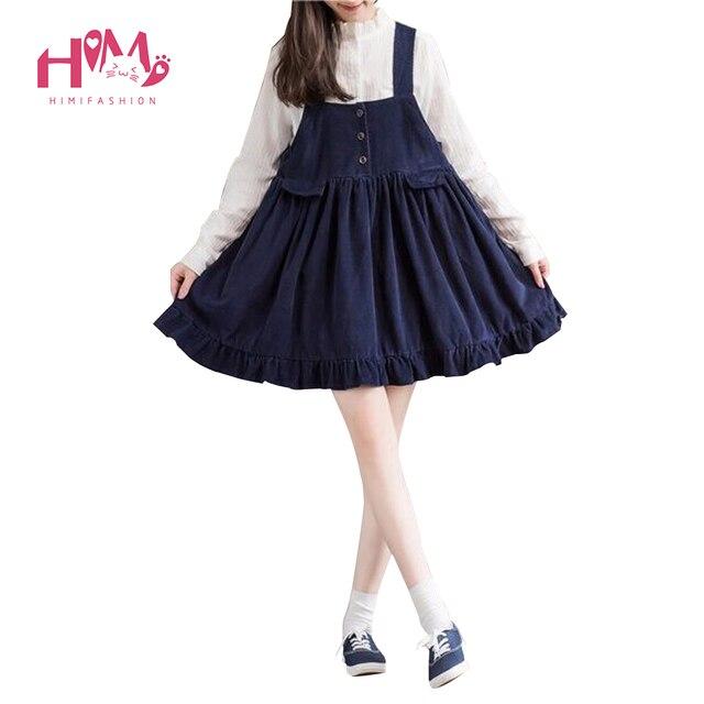 b81b0b22e5 2018 Mori Girl Womens Suspenders Dress Japanese Vintage Pleated Corduroy  Cute Overalls Ruffles Mini Dresses Winter
