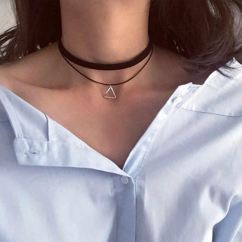 Grosir Gaya Baru Bijoux Suka Vintage Segitiga Geometri Tato Tetesan Air Klavikula Kalung untuk Wanita Perhiasan Rantai
