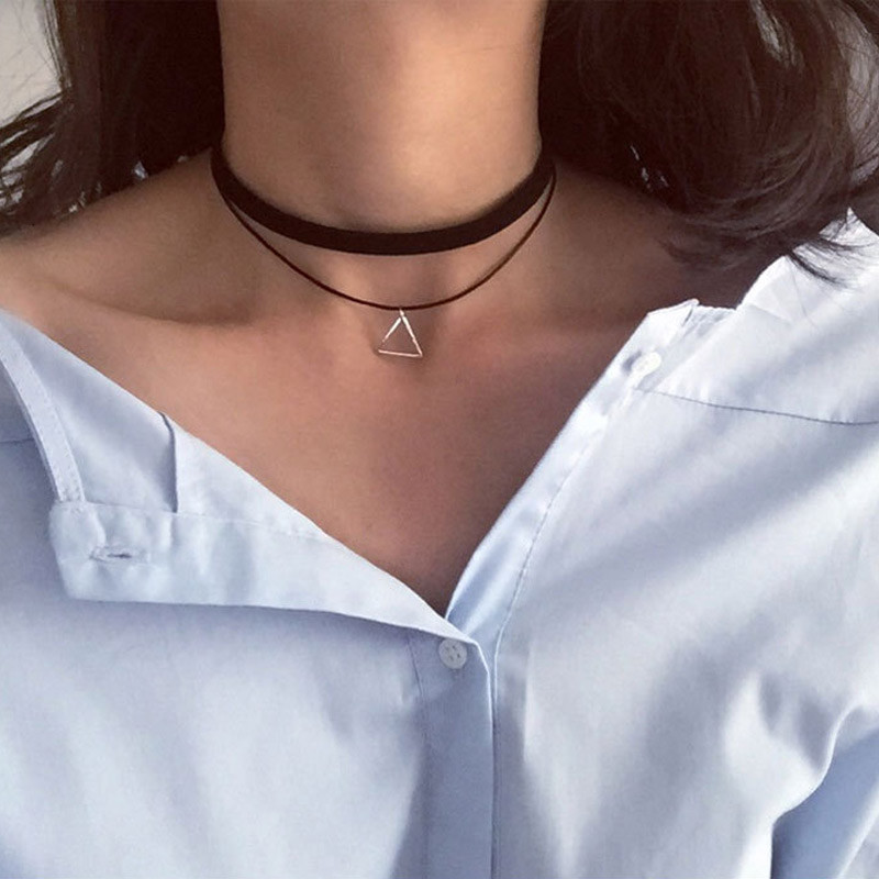 Wholesale New Styles Bijoux Love Vintage Triangle Geometry Tattoo Waterdrop Clavicle Choker Necklace For Women Chain