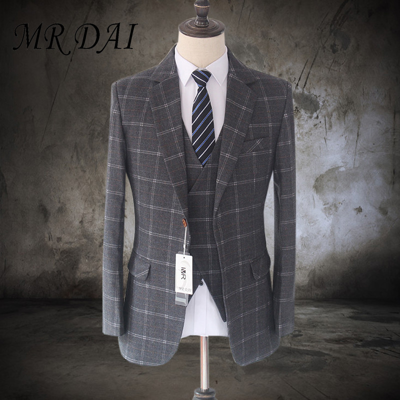 MD-004 2017 New Vintage Slim Fit Suits For Men Wool Dark gray Checkered Tweed Tailored Wedding Mens Suit (Jacket+Vest+ Pants)