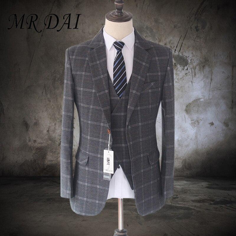 MD-004 2017 New Vintage Slim Fit Suits For Men Wool Dark gray Checkered Tweed Tailored Wedding Mens Suit (Jacket+Vest+ Pants)