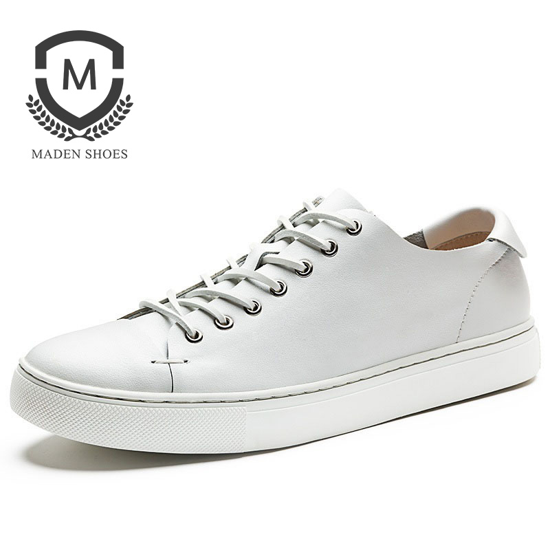 Maden Brand 2018 Spring New Mens Leather Shoes High Quality Flats Breathable comfortable Driving Shoes White shoe 4 color top brand high quality genuine leather casual men shoes cow suede comfortable loafers soft breathable shoes men flats warm