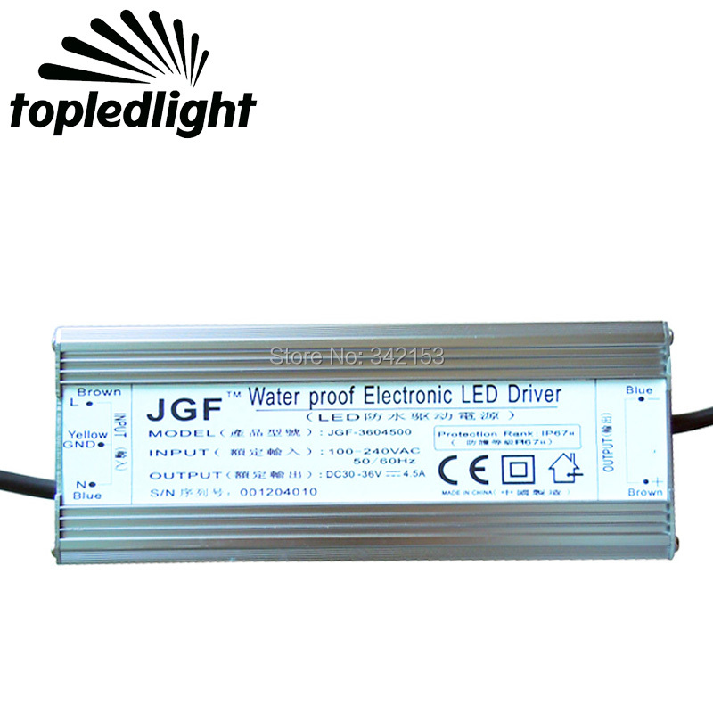 IP67 Waterproof 150W Electronic LED Driver DC 30V-36V 4.5A Lighting Transformers Converter Driver Principale Conductor Llevado 150w dimmable electronic led driver ip67 waterproof lighting transformers dc 30v 42v 0 3 5a for 150w high power cree led light