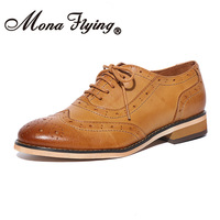 Mona Flying Womens Leather Oxfords Shoes Stylish Perforated Wingtips Brogues Flats lace up Shoes for Women ladis A068 1